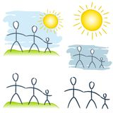 Simple Family Unit Clip Art. An illustration featuring a selection of simple drawings of families in sunny and plain scenes royalty free illustration