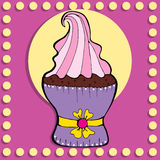 Simple figure cupcake in vintage style Royalty Free Stock Photo