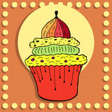 Simple figure cupcake in vintage style Royalty Free Stock Images