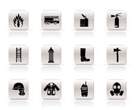 Simple fire-brigade and fireman equipment icon. Vector icon set Royalty Free Stock Photo