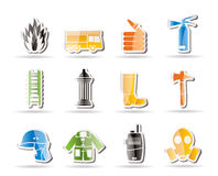 Simple fire-brigade and fireman equipment icon. Icon set Stock Images
