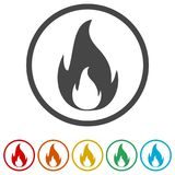 Simple fire icon, 6 Colors Included. Simple vector icons set Stock Photography