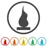 Simple fire icon, 6 Colors Included. Simple vector icons set Stock Image