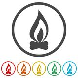Simple fire icon, 6 Colors Included. Simple vector icons set Royalty Free Stock Image