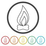 Simple fire icon, 6 Colors Included. Simple vector icons set Stock Photos