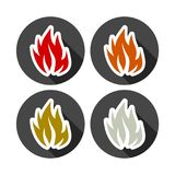 Fire icon, color icon with long shadow. Simple fire icon, vector icon on dark background Royalty Free Stock Images