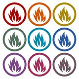 Fire flames icons set on white background. Simple fire icon, vector icon on white background Stock Photo