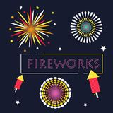 Simple Fireworks graphic resource vector illustration. Vector Illustration about fireworks graphic resource design with simple line flat modern design style Stock Image