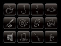 Simple Fishing and holiday icons. Icon set Royalty Free Stock Photo