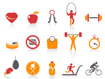 Simple fitness icons set,orange color series Stock Images