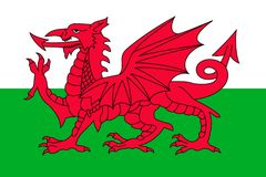 Simple flag of Wales. Correct size, proportion, colors Stock Photography