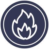 Simple flame circular icon. A creative illustrated simple flame circular icon image stock illustration