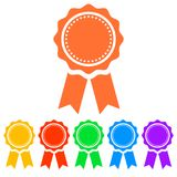 Simple, flat award ribbon icon. Six color variations. Isolated on white royalty free illustration