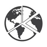 Flat black globe icon. Simple flat black globe icon vector Stock Photography