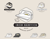 Simple flat black and steam iron cleaning service logotype Royalty Free Stock Images