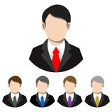 Simple, flat businessman in a suit and tie avatar. Five variations stock illustration