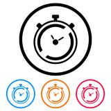 Simple, flat, circular timer/stopwatch frame icon. Four color variations. Isolated on white Stock Photo