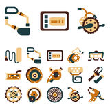 Simple flat color icons for e-bike Royalty Free Stock Photo
