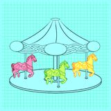 Simple flat colorless contour illustration of a carousel with three horses Stock Photos