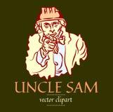 Simple flat contour vector portrait of Uncle Sam in a construction helmet stock illustration