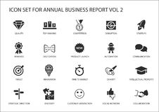 Simple flat design business icons for annual company business report Royalty Free Stock Images