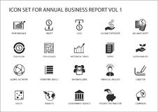Simple flat design business icons for annual company business report.  Royalty Free Stock Image