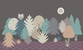 Simple flat design illustration of forest and field with owl and. Two hares under night sky with moon - retro vector Royalty Free Stock Photo