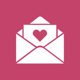 Simple flat design love letter. On pink background Royalty Free Stock Images