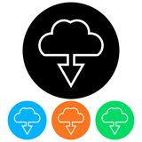 Simple, flat download from a cloud icon frame. Four color variations vector illustration