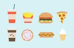 Simple flat fast food illustrations isolated on light blue backg. Round stock illustration