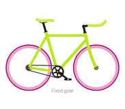 Simple flat fixed-gear bicycle  vector illustration Royalty Free Stock Photo