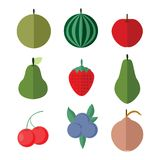 Simple Flat Fruits Vector Illustration Set. Simple Flat Fruits Vector Illustration Graphic Design Set Royalty Free Stock Image