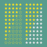 Simple flat gold star rating 5 to 0 stars. Full and half stars. Average rating template bar. Vector illustration on a background stock illustration