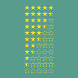 Simple flat gold star rating 5 to 0 stars. Full and half stars. Average rating template bar. Vector illustration isolated on a background stock illustration