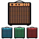 Simple, vector flat guitar amp amplifier icon. Four color variations vector illustration