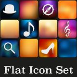 Simple flat icons with trendy colors Royalty Free Stock Photos