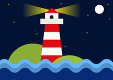 Simple flat illustration of lighthouse during night Royalty Free Stock Images