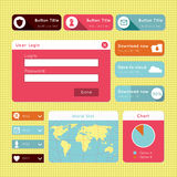 Simple flat modern UI design website elements. Vector design of member login, download, world map, statistics and dropdown buttons. For smartphones, games, and Royalty Free Stock Photos