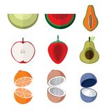 Simple Flat Open Slice Fruits Vector Illustration Set. Simple Flat Open Slice Fruits Vector Illustration Graphic Design Set Royalty Free Stock Image
