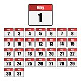 Simple, flat, red and white calendar icon set for the month of May. One for every day. Isolated on white. From May 1st to May 31st Stock Photography