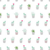 Simple flat seamless pattern with cactus, succulents, desert pla Stock Photos