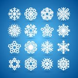 Simple Flat Snowflakes Set for Winter and Stock Photography