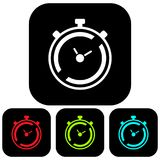 Simple, flat, square timer/stopwatch icon. Timer silhouette black. Isolated on white stock illustration