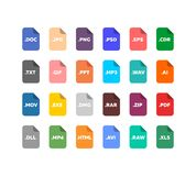 File extensions icon set. Simple flat style file extensions icon set Royalty Free Stock Images