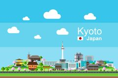 Flat Kyoto Cityscape. Simple flat-style illustration of Kyoto city in Japan and its landmarks. Various famous ancient temples and and famous buildings such as royalty free illustration