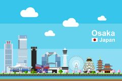 Flat Osaka Cityscape vector illustration