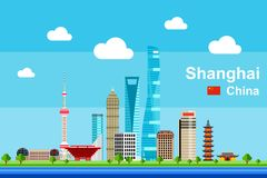 Flat Shanghai Cityscape. Simple flat-style illustration of Shanghai city in China and its landmarks. Famous buildings included vector illustration