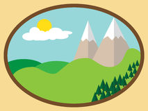 Simple flat summer mountains landscape Royalty Free Stock Image