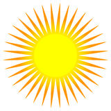 Simple flat sun clip-art, sun icon with edgy corona. Royalty free vector illustration Royalty Free Stock Photo