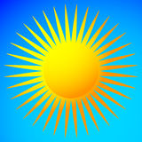 Simple flat sun clip-art, sun icon with edgy corona. Royalty free vector illustration Royalty Free Stock Images